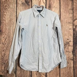 Ralph Lauren Button Down Shirt Boys 12 Blue Stripe